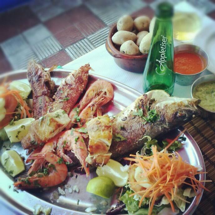 Fish, potatoes, mojo